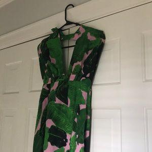 Palm print maxi dress